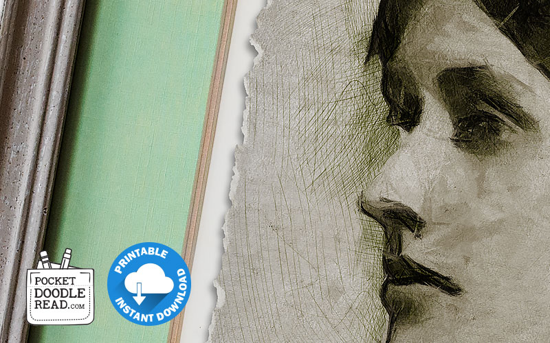 Detail view of the free printable Virginia Woolf portrait