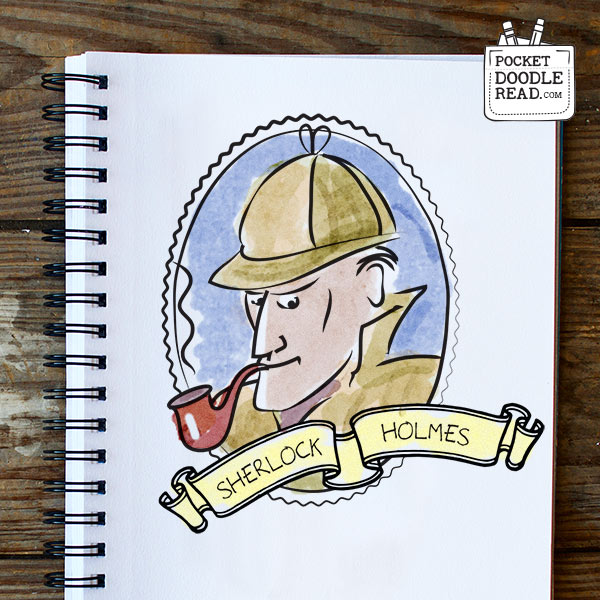 Step 10: Finish your Sherlock Holmes drawing with some extra details and color