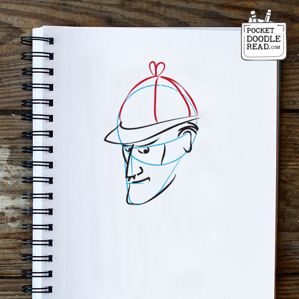 Step 6: Draw Sherlock Holmes deerstalker hat