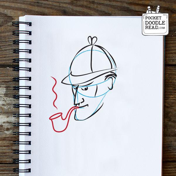 Step 7: Draw Sherlock Holmes' pipe
