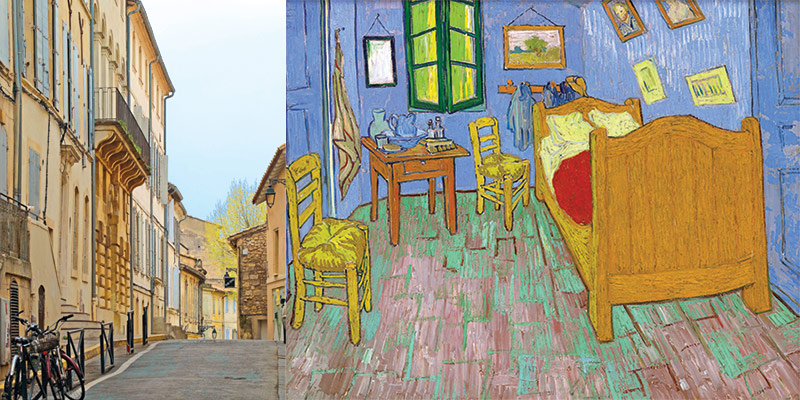 Van Gogh's painting of his bedroom, and a street in the town of Arles