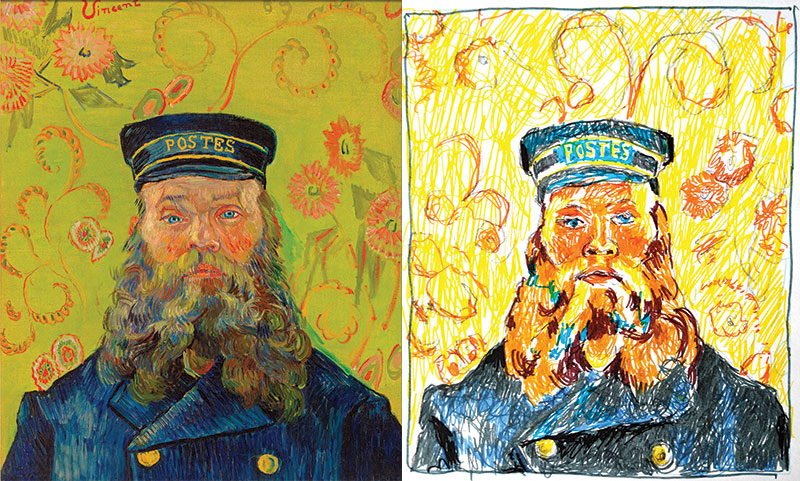Van Gogh's portrait of the postman alongside David's felt tip drawing